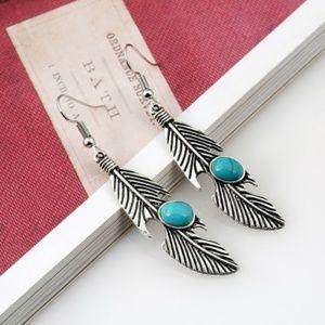 Feather Pattern Vintage Style Earrings